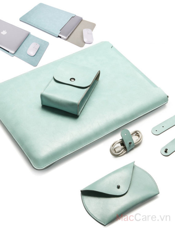 combo túi đựng macbook bằng da