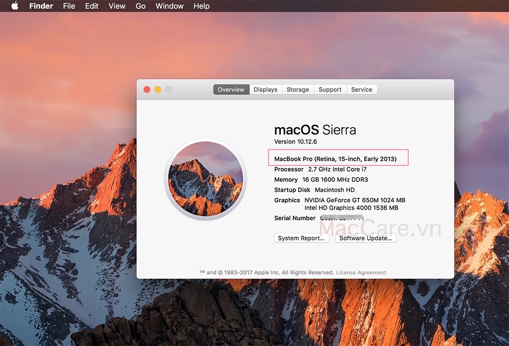 kiểm tra cấu hình macbook