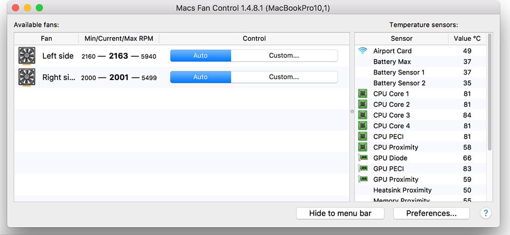 phần mềm đo nhiệt độ macs fan control