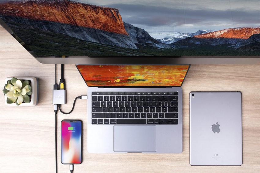 đầu chuyển usb-c 3 trong 1 4k hdmi cho macbook, ultrabook, chromebook