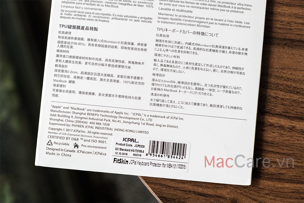 phủ bàn phím macbook air 2018, 2019