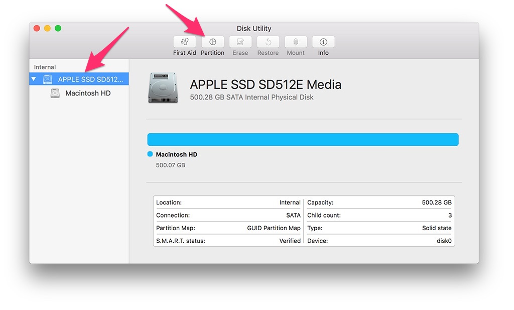chia ổ cứng macbook disk utility
