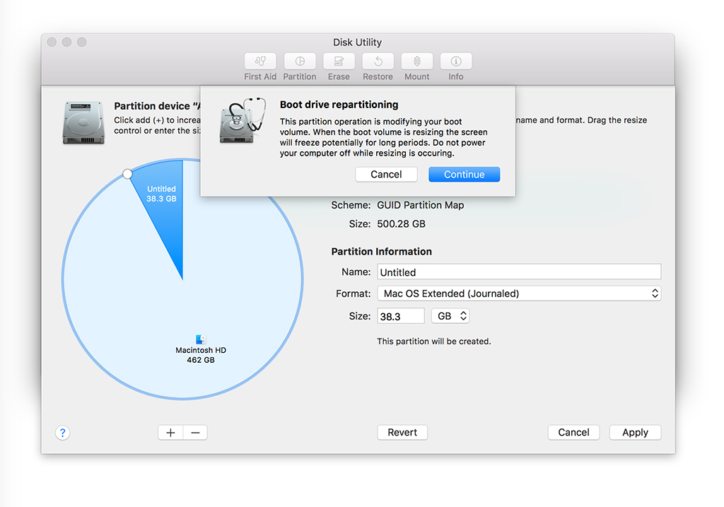 chia ổ cứng macbook disk utility