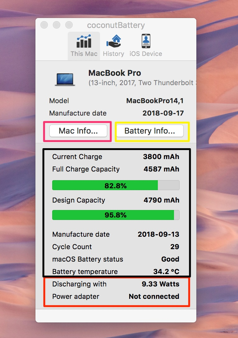 coconutbattery kiểm tra pin macbook