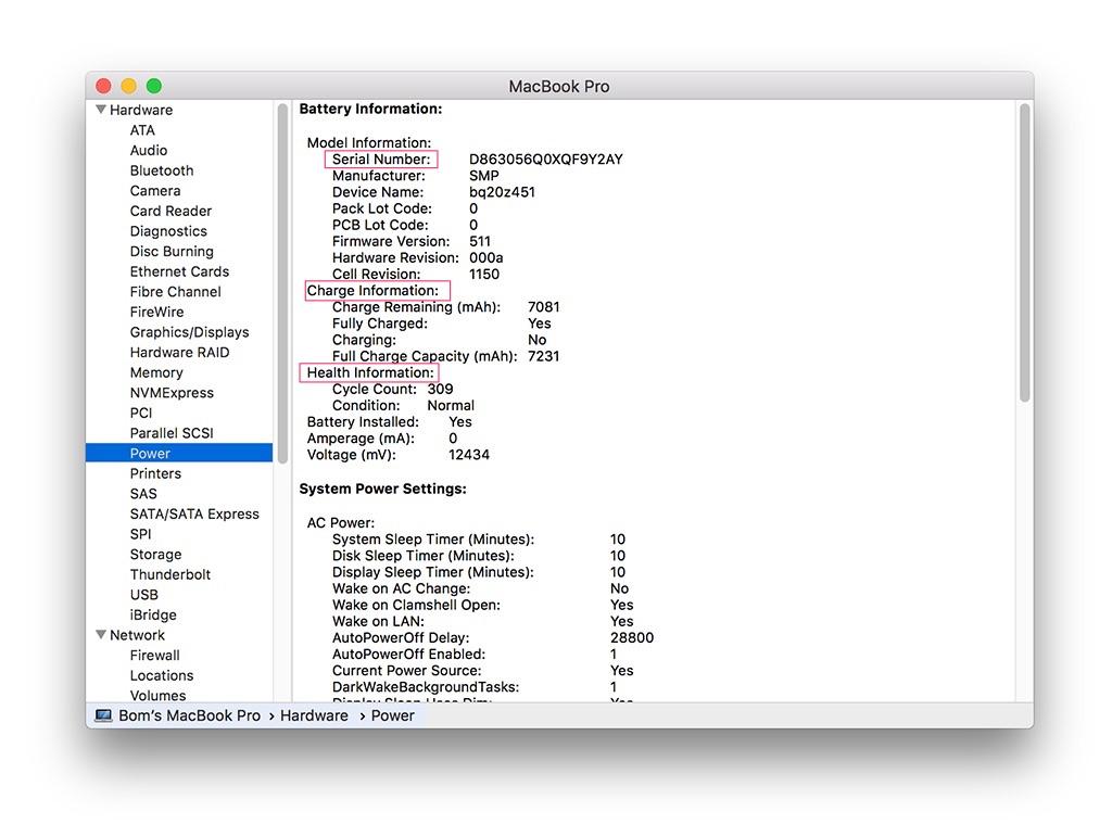 kiểm tra sức khỏe pin macbook