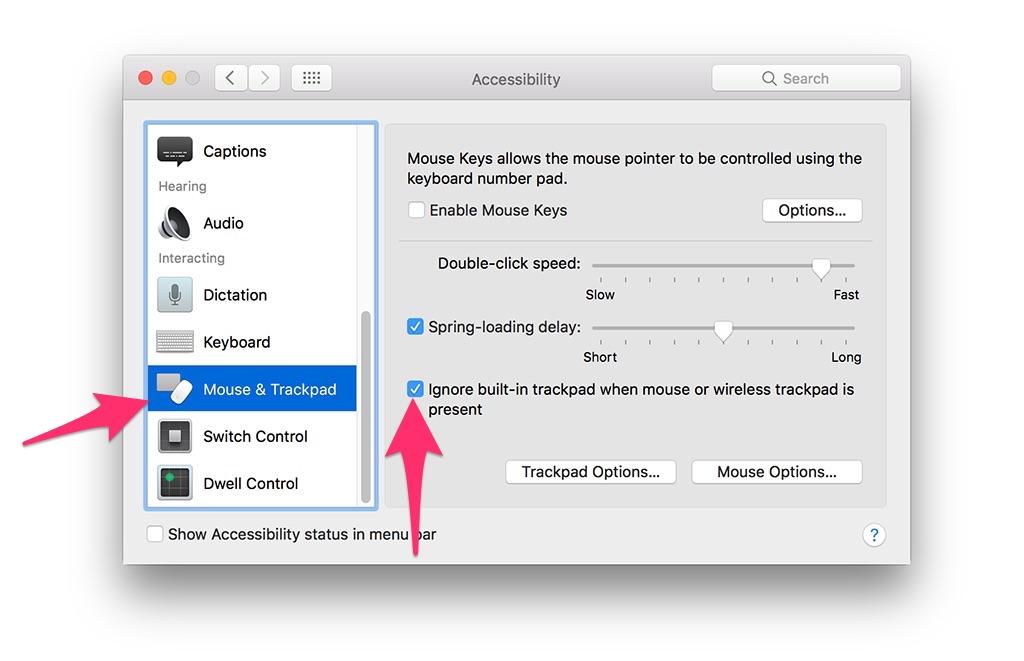 tắt trackpad khi kế nối chuột vào macbook
