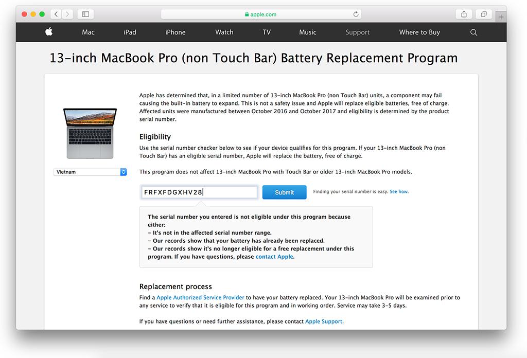 thay thế pin macbook pro 13inch miễn phí từ apple