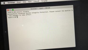 Cách tắt/bật System Integrity Protection(SIP) trên Mac