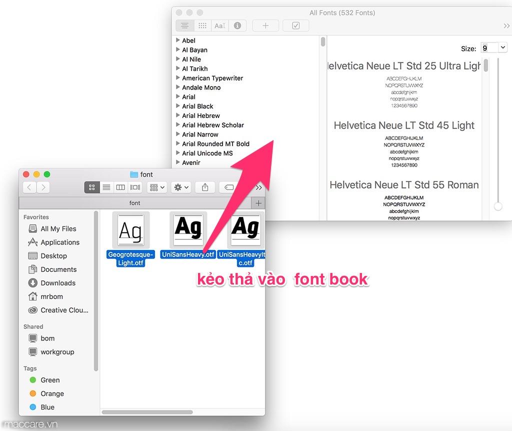 cài đặt font cho macbook