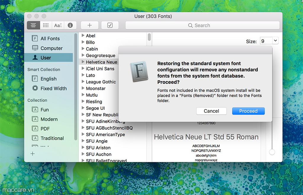 restore font macbook