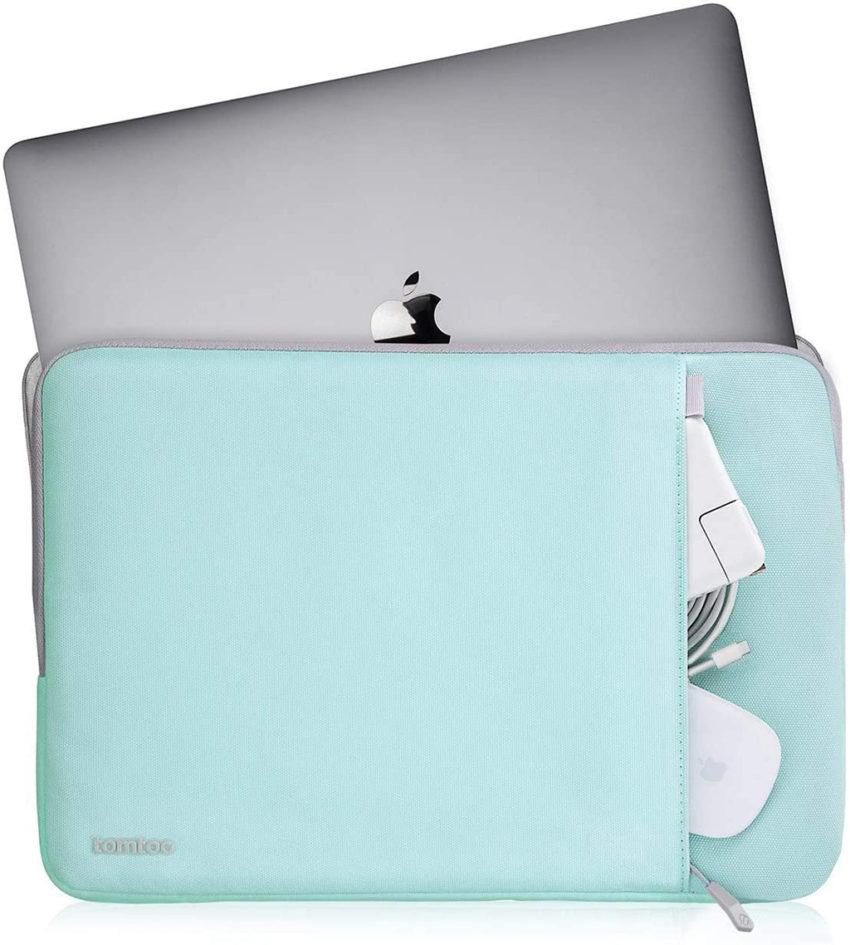 túi chống sốc macbook m1 màu xanh nhạt tomtoc a13